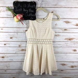 Free People ivory floral lace sleeveless skater